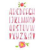 Fototapety Hand drawn watercolor pink calligraphic font.