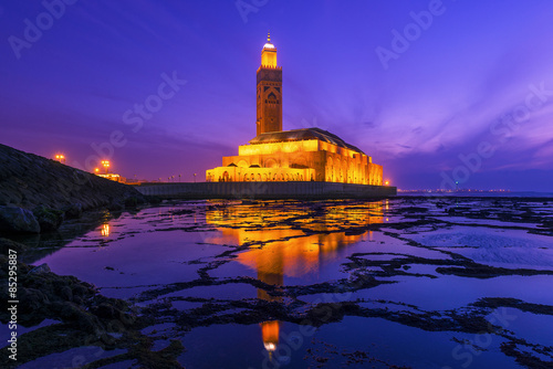 Hassan II Mosque during the sunset in Casablanca, Morocco Poster