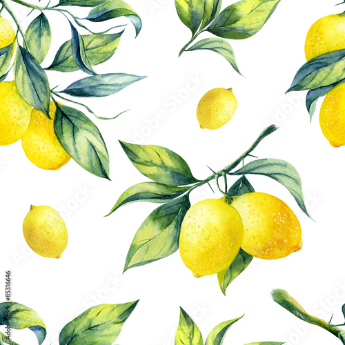 A seamless lemon pattern on white background. - 85316646