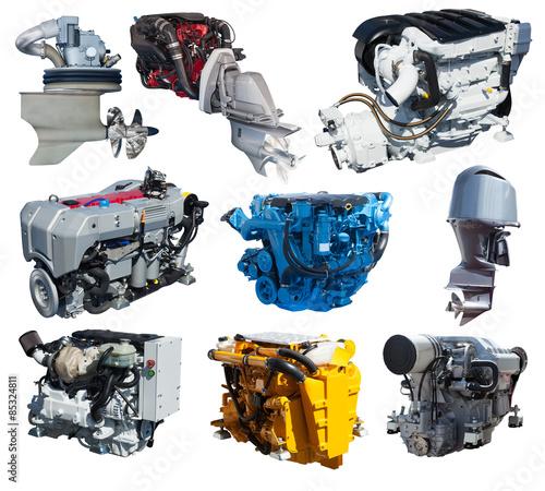 Papiers peints Nautique motorise Set of engines of speedboat. Isolated over white