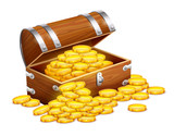 Pirates Trunk Chest Full Of Gold Coins Treasures Eps10  Wall Sticker