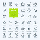 Fototapety Outline web icon set - sport and fitness