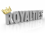 Royalties 3d Word Gold Crown Percent Share Commission Earnings poster