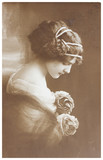 Vintage  photo portrait of young woman