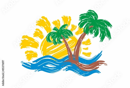 Sea landscape with palm trees.