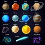 Fototapety Cosmos stars planets galaxy icons set