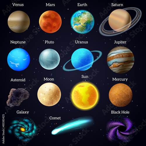 Cosmos stars planets galaxy icons set