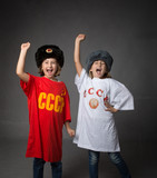 russian children with fist closed