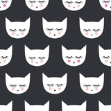 Seamless pattern with white smiling sleeping cats for kids holidays. Cute baby shower vector background. Child drawing style kitty.
