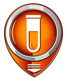 Test tube round orange pointer. Biochemistry and microbiology eq poster