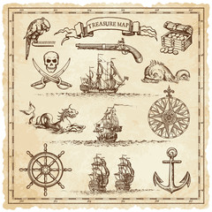 Pirate-Vintage map illustration elements