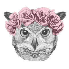 Original drawing of Owl with floral head wreath. Isolated on white background.