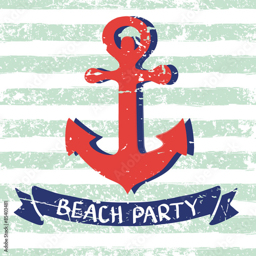Vector marine background. Red hand drawn anchor, ribbon, letters