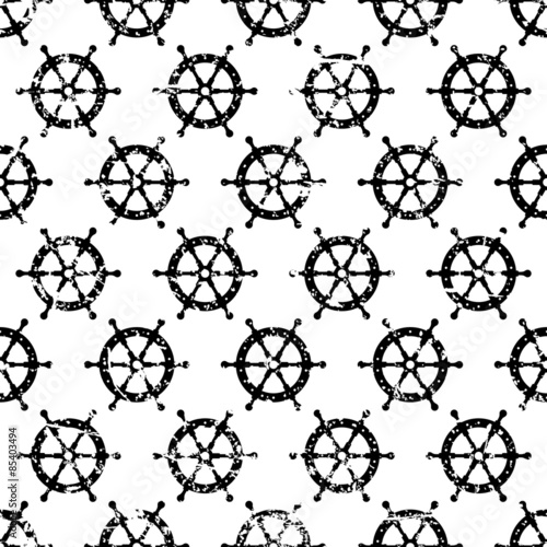 Hand drawn vector seamless pattern with black steering wheel iso