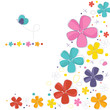 Decorative colorful flowers with butterfly greeting card