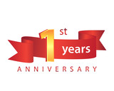 1 Ribbon Anniversary Logo