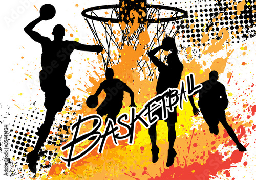 Poster basketball player team on white grunge background