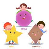 Fototapety Cute little cartoon kids with basic shapes star circle diamond