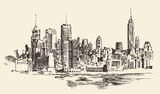 Fototapety New York city architecture, vintage engraved illustration, hand drawn