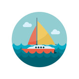 Boat with a Sail flat icon