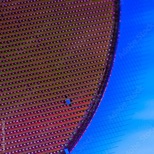 Poster Chip Wafer in Rainboc Colors, Technology Background