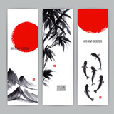Fototapety banners with Japanese natural motifs