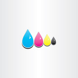 drops of cmyk ink printing symbol