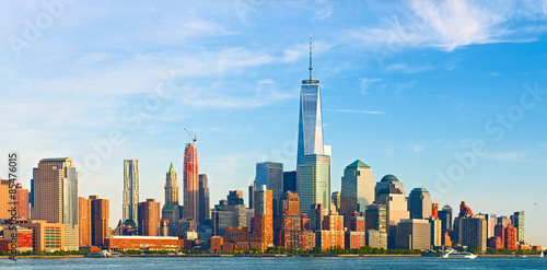 Foto op Aluminium New York New York City, financial business buildings in Manhattan on a late summer afternoon