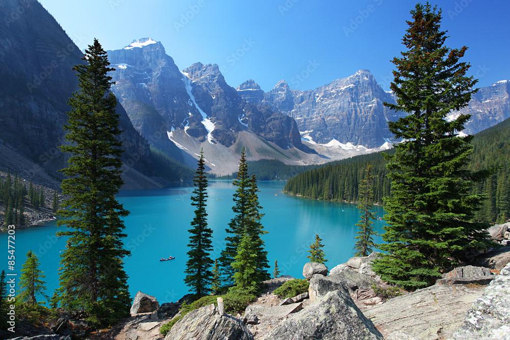 k chenr ckwand aus glas mit foto moraine lake in the canadian rockies nikkel. Black Bedroom Furniture Sets. Home Design Ideas