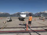 Marshalling a United Express CRJ700 in Jackson Hole Airport