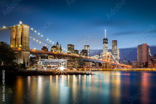 Brooklyn Bridge and the Lower Manhattan skyline at dusk Poster