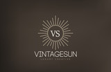 Vintage Sun Logo design vector template...Retro Circle with Rays - 85501068