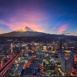 Surreal view of Yokohama city and Mt. Fuji