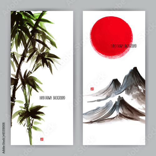 two banners with Japanese natural motifs