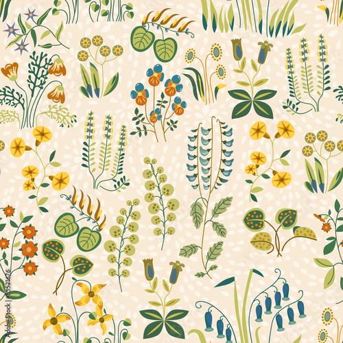 Foto op Plexiglas Op straat Seamless pattern of little different flowers in Shabby chic style