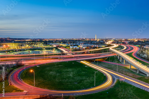 Washington DC Skyline over highways in Arlington.
