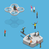 Flying quadcopter isometric flat vector concept. poster