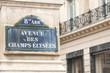 Avenue des Champs-Élysées sign on the famous street in Paris