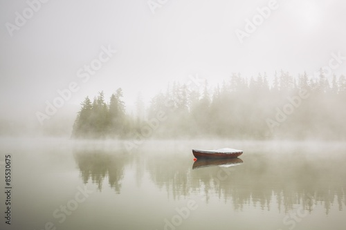 Boat in mysterious fog - 85530675
