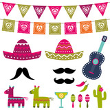 Mexican party vector decoration and photo booth props set