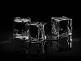 Fototapety Ice cubes on black background.3D render.