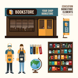 Fototapety Vector bookstore set design, shop store, package, t-shirt, cap,