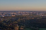 Fototapeta Sunset over Tallinn city residential area, aerial view