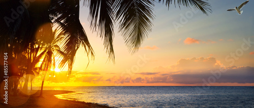 Fotobehang Strand Art Beautiful sunrise over the tropical beach