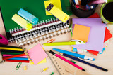 Fototapety School and office accessories on wooden background