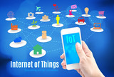 Hand holding smart phone with Internet of things (IoT) word and poster