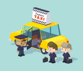 Cube World. Taxi driver invites two people to ride