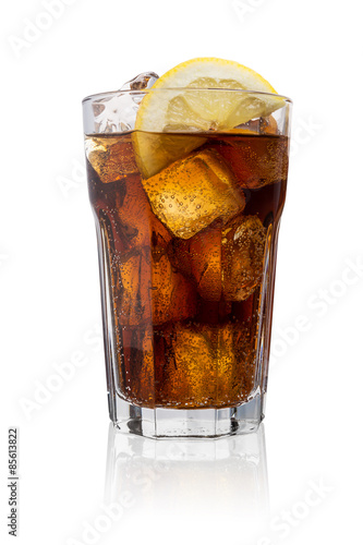 Poster Glass of cola with ice isolated on white