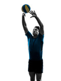 Fototapeta volley ball player man silhouette white background