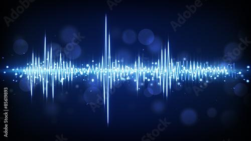 blue audio waveform background
